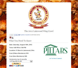 The Pillars of Lakewood present the Lakewood Wing Crawl